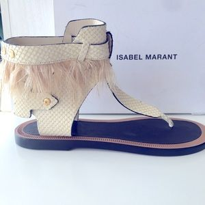 Isabel MARANT feathers ostrich leather sandals tan